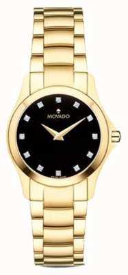 Movado | женские часы Moisan | золотой тон | черный циферблат | 0607028