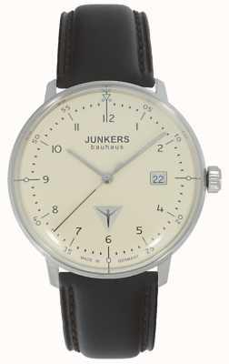 Junkers Баухаус кремовый циферблат коричневые часы с кожаным ремешком 6046-5