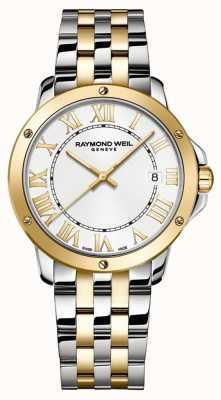Raymond Weil Мужское танго   двухцветный браслет из нержавеющей стали   белый циферблат 5591-STP-00308