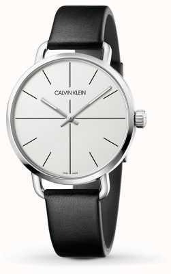 Calvin Klein | даже расширение смотреть | черный кожаный ремешок | белый циферблат | K7B211CY