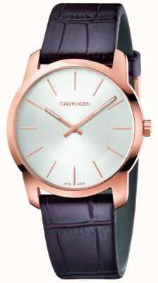 Calvin Klein | часы расширения города | коричневый кожаный ремешок | серебряный циферблат | K2G226G6