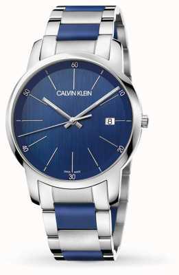 Calvin Klein | расширение мужского города | двухцветная нержавеющая сталь | синий циферблат K2G2G1VN