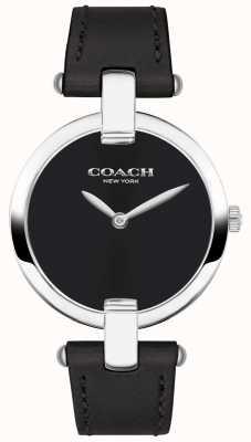 Coach | женские часы chrystie | черная кожа и сталь | 14503091