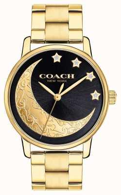 Coach | женские большие часы | золото с луной на лице | 14503278