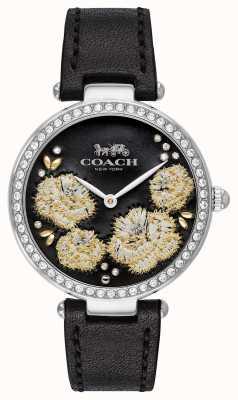 Coach | женские часы парк | черный кожаный ремешок черный циферблат 14503283
