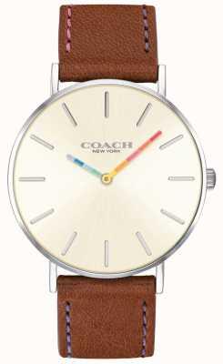 Coach | женские часы Perry | коричневый кожаный ремешок белый циферблат | 14503032