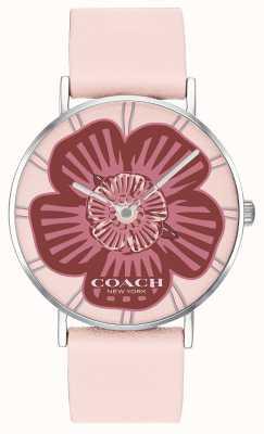 Coach | женские часы Perry | розовый кожаный ремешок | цветочный циферблат | 14503231