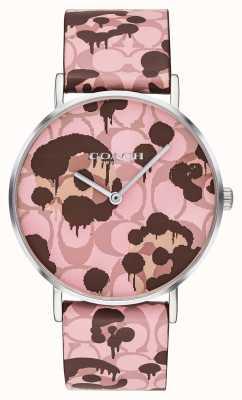 Coach | женские часы Perry | розовый кожаный ремешок цветочный дизайн | 14503246