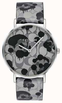 Coach | женские часы Perry | серый кожаный ремешок цветочный дизайн | 14503248