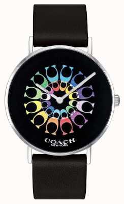 Coach | женские часы Perry | черный кожаный ремешок черный циферблат | 14503289