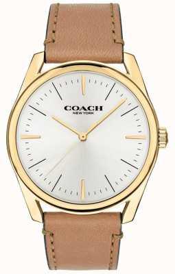 Coach | мужские современные роскошные часы | коричневый кожаный ремешок белый циферблат | 14602398