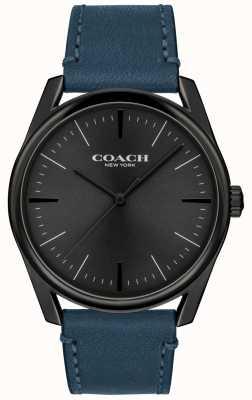Coach | мужские современные роскошные часы | синий кожаный ремешок | 14602399
