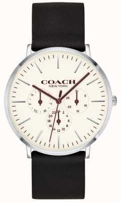 Coach | мужские варик часы | черный кожаный ремешок белый циферблат | 14602387