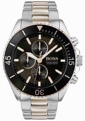 BOSS | мужское издание океана | двухцветная нержавеющая сталь | черный циферблат 1513705