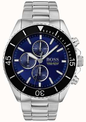 BOSS | мужское издание океана | серебряная нержавеющая сталь | синий циферблат | 1513704