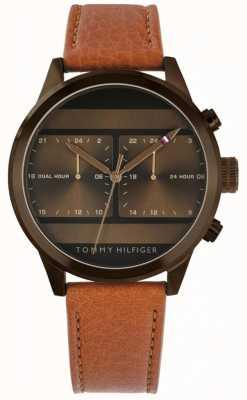 Tommy Hilfiger | мужские коричневые часы с кожаным ремешком | 1791594