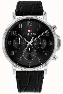 Tommy Hilfiger | мужские черные кожаные часы daniel | 1710381