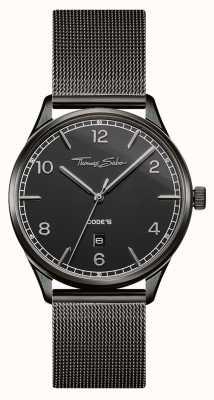 Thomas Sabo | браслет из черной сетки из нержавеющей стали | черный циферблат | WA0342-202-203-40