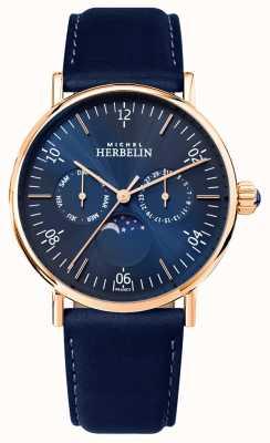 Michel Herbelin Мужская монтр вдохновение лунная фаза синий циферблат синий ремешок 12747/PR15BL