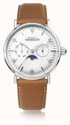 Michel Herbelin Montre вдохновение лунная фаза коричневый кожаный ремешок белый циферблат 12747/AP11GO