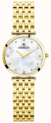 Michel Herbelin | женская | эпсилон | перламутровый циферблат | золотой браслет | 17116/BP89