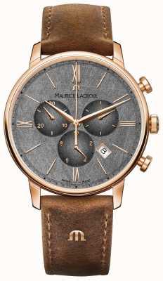 Maurice Lacroix Циферблат Eliros с текстурированным циферблатом, коричневый кожаный ремешок EL1098-PVP01-210-1