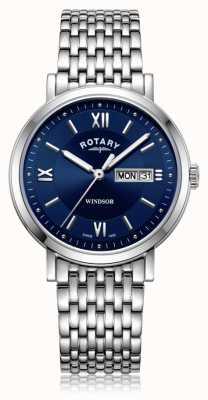Rotary | мужской браслет из нержавеющей стали | синий циферблат | GB05300/66