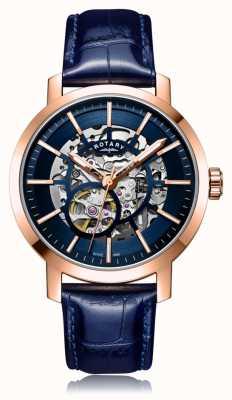 Rotary | мужской синий кожаный ремешок | футляр из розового золота | GS05354/05
