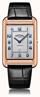 Rotary | мужской черный кожаный ремешок | корпус из розового золота | GS05284/70