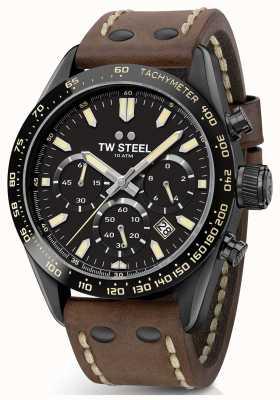 TW Steel | гентс коричневый кожаный ремешок | черный хронограф | CHS1