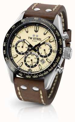 TW Steel | гентс коричневый кожаный ремешок | кремовый хронограф | CHS2