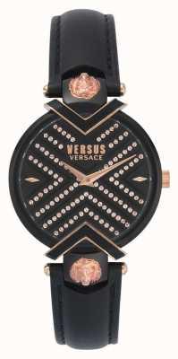 Versus Versace | женский черный кожаный ремешок | узорчатый циферблат | VSPLH1519