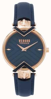 Versus Versace | женский синий кожаный ремешок с розовым золотом | VSPLH0419