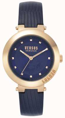 Versus Versace | женский синий кожаный ремешок | футляр из розового золота | VSPLJ0419