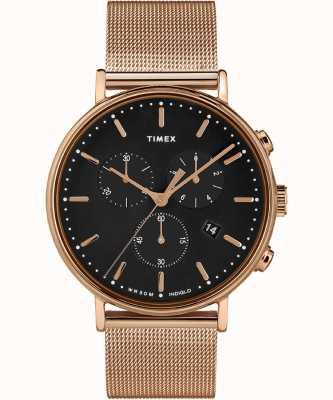 Timex | Fairfield Chrono черный циферблат | чехол из розового золота | TW2T37100D7PF