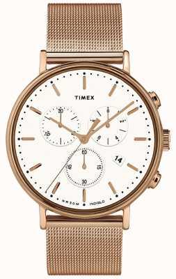 Timex | Fairfield хронограф с белым циферблатом | чехол из розового золота | TW2T37200D7PF