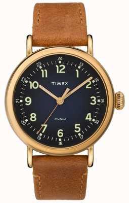 Timex | мужской кожаный ремень | синий циферблат | TW2T20000D7PF