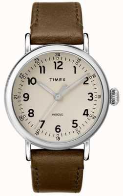 Timex | мужской ремешок из оливковой кожи | серый циферблат | TW2T20100D7PF