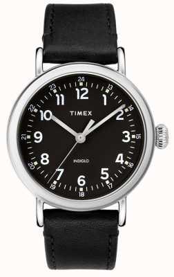 Timex | мужской черный кожаный ремешок | черный циферблат | TW2T20200D7PF