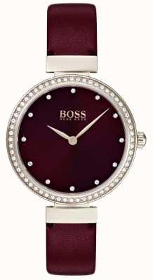 Boss | женский бордовый кожаный ремешок | 1502481