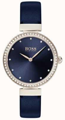Boss | женский синий кожаный ремешок | синий циферблат | 1502477