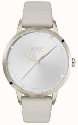 BOSS Сумерки | женский серый кожаный ремешок | серебряный циферблат | 1502461