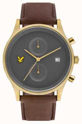 Lyle & Scott Мужской хронограф The Hope коричневый кожаный ремешок серый циферблат LS-6007-07