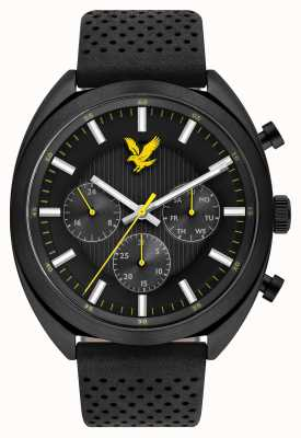 Lyle & Scott Mens Tevio XE черный кожаный ремешок черный циферблат LS-6016-01
