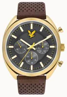 Lyle & Scott Mens Tevio XE коричневый кожаный ремешок серый циферблат LS-6016-02