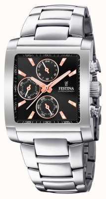 Festina | мужской хронограф из нержавеющей стали | черный / розовый циферблат | F20423/4