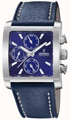 Festina | мужской хронограф из нержавеющей стали | синий кожаный ремешок | F20424/2