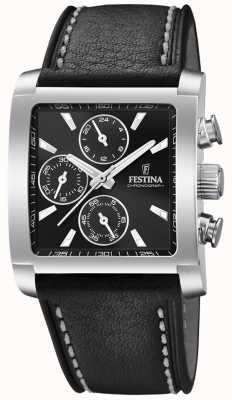 Festina | мужской хронограф из нержавеющей стали | черный кожаный ремешок | F20424/3