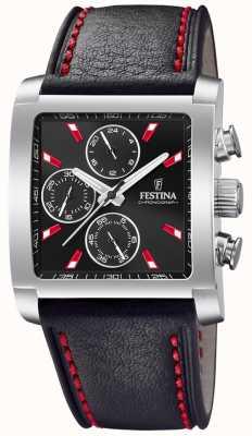 Festina | мужской кожаный хронограф из нержавеющей стали | черный циферблат | F20424/8