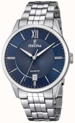 Festina | мужской браслет из нержавеющей стали | синий циферблат | F20425/2